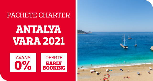 Chartere Antalya - Vara 2021 Oferte Early Booking pana la -45%!