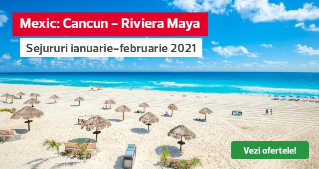 Mexic - Cancun, plecari in luna ianuarie si februarie: pachete complete de la 1074 euro/pers!